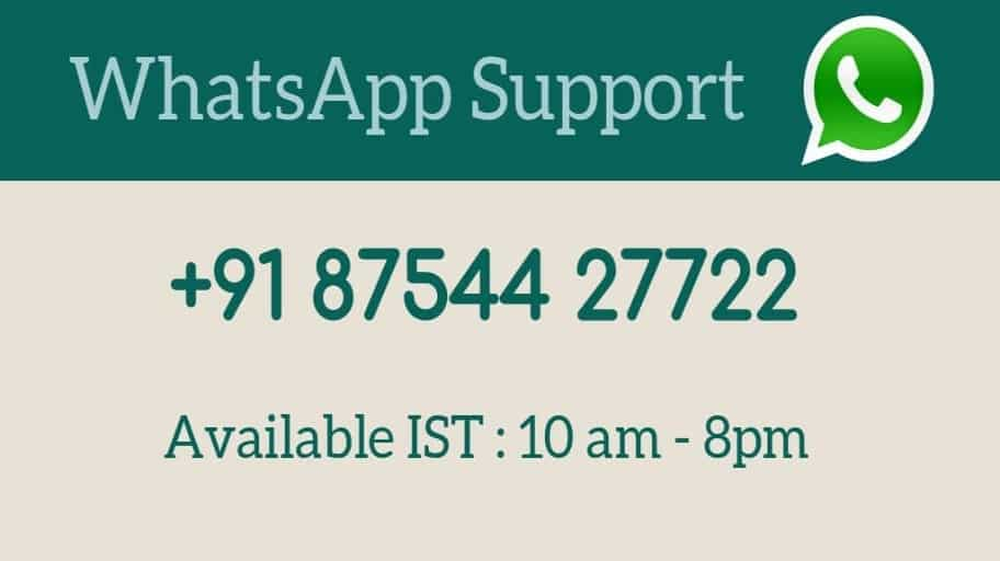 Whatsapp Support Available
